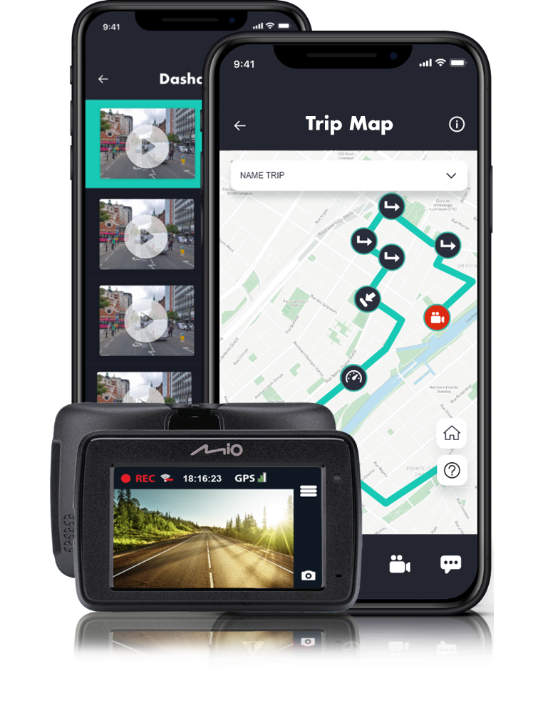 Trip map screen in app, Dashcam screen in app, and an image of a Dashcam